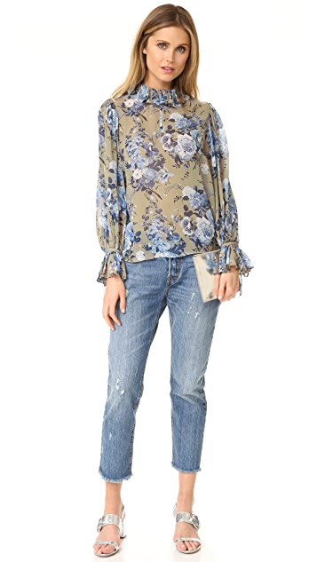 Robert Rodriguez 花束荷叶边衣领女式衬衫