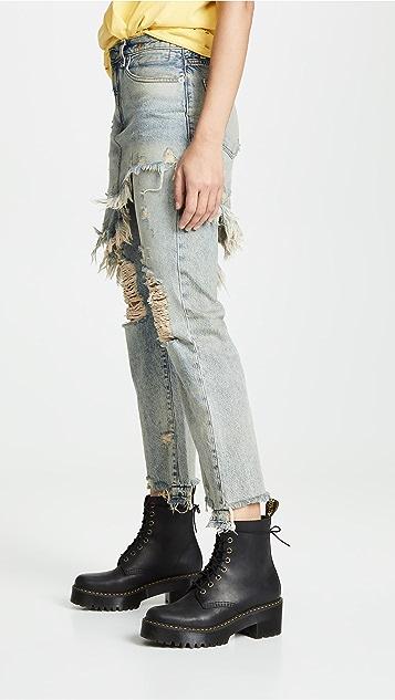 R13 双层经典裙身牛仔裤