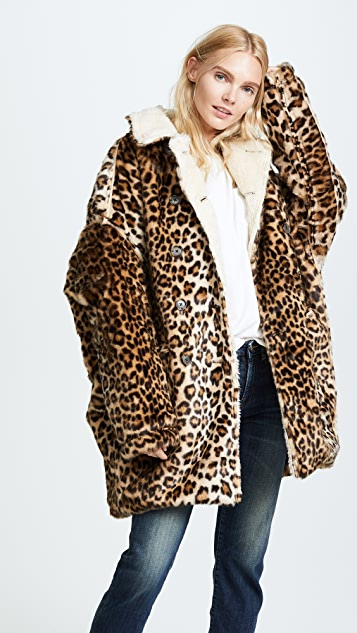 R13 Leopard Hunting 仿皮毛大衣
