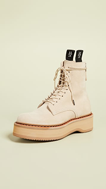 R13 Single Stack 绒面革靴子