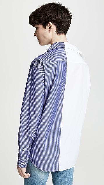 R13 露肩条纹拼接衬衫