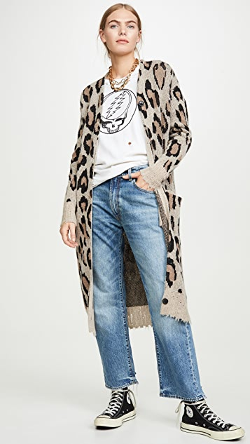 R13 长款豹纹开司米羊绒开襟衫