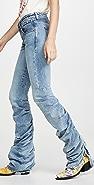 R13 抽褶男孩风格微喇牛仔裤