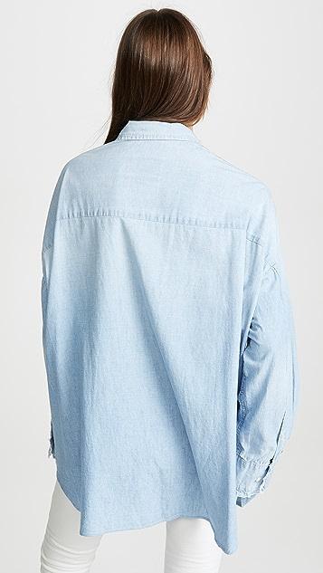R13 低领口礼服式衬衫