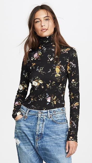 R13 花卉印花高领上衣