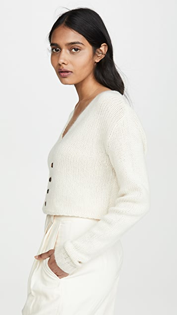 Sablyn Bianco 短款羊绒开襟衫