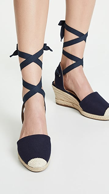 Schutz Marilda 编织底坡跟绑带凉鞋