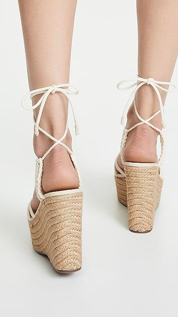 Schutz Macris 编织底坡跟绑带凉鞋