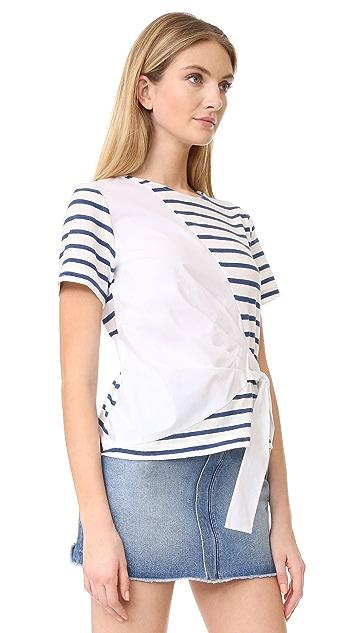 Sea 衬衣面料拼接绑带 T 恤