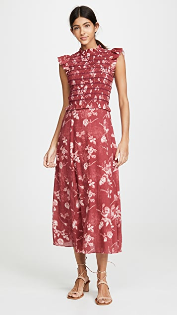 Sea Monet 抽褶中长连衣裙