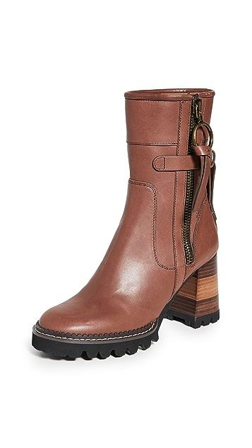 See by Chloé Bryn Equestrian 沟纹踝靴