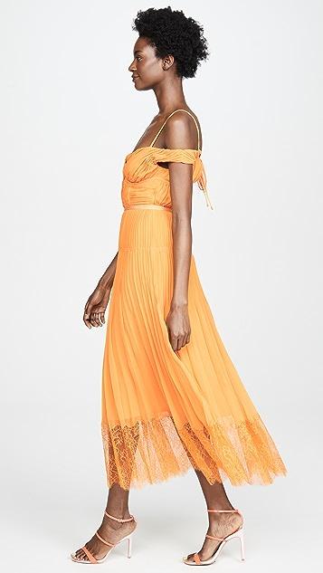Self Portrait 橙色露肩裥褶雪纺连衣裙