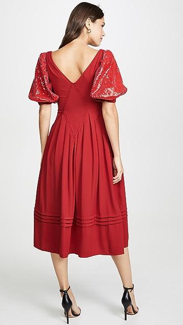 Self Portrait 红色亮片短袖中长连衣裙