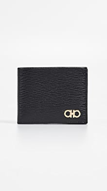 페라가모 Salvatore Ferragamo Revival Gancio Wallet with ID Window,Nero