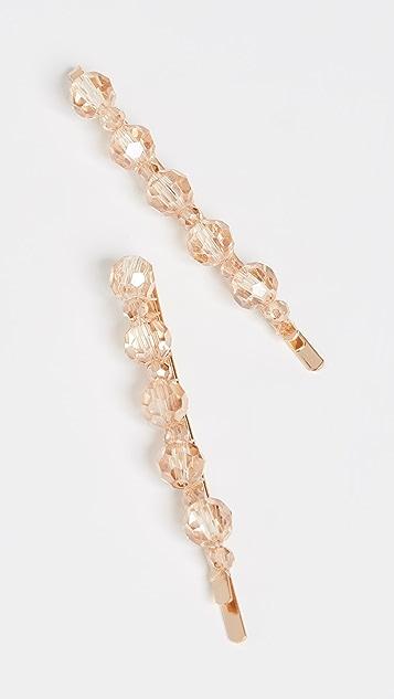 Shashi 香槟色镶嵌珠宝发夹 2 个装