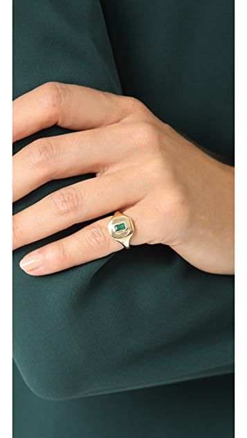 Shay 18K 金长方形宝石基础款小指戒