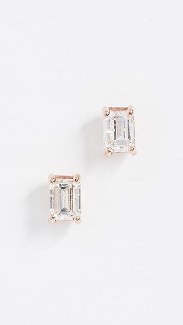 Shay 18K 大号纸牌绿宝石切割钻石耳环