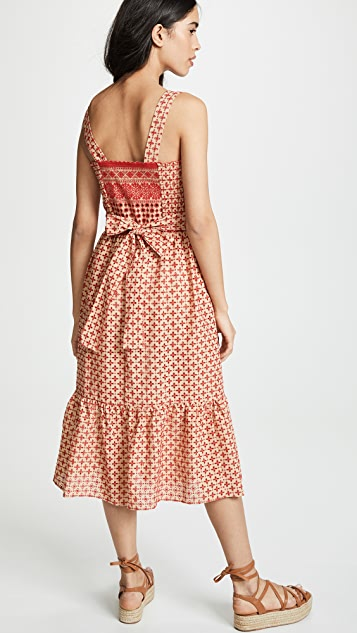 Shoshanna 中长罩衫式圆孔连衣裙