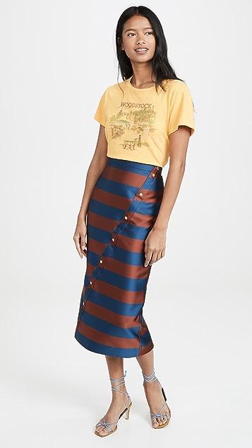 Stella Jean 不对称中长条纹半身裙