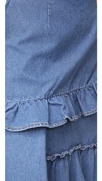 SJYP 荷叶边牛仔布半身裙