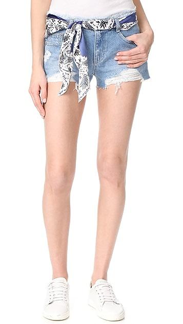 SJYP 系腰带仿旧短裤