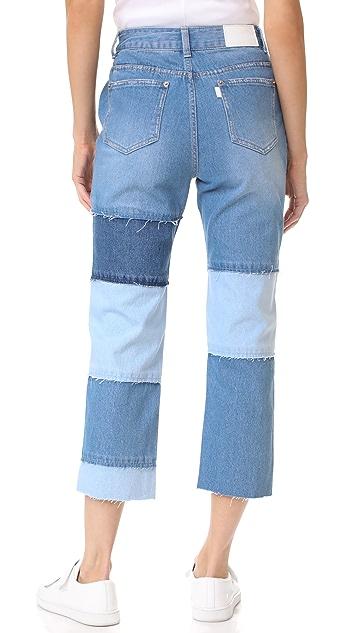 SJYP 多色拼接九分牛仔裤