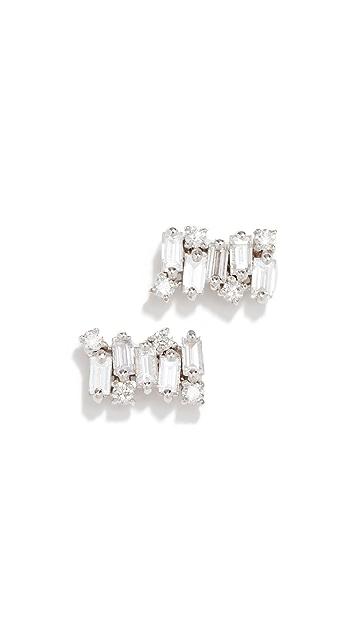 Suzanne Kalan 18K 钻石长方形针式耳环