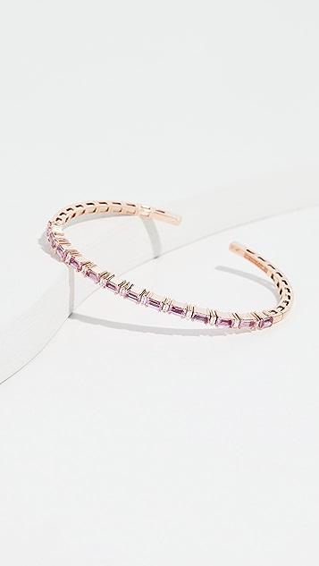 Suzanne Kalan 18k 玫瑰金钻石和粉色蓝宝石手镯