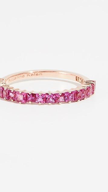 Suzanne Kalan 18k 玫瑰金半公主切割深粉色蓝宝石戒指