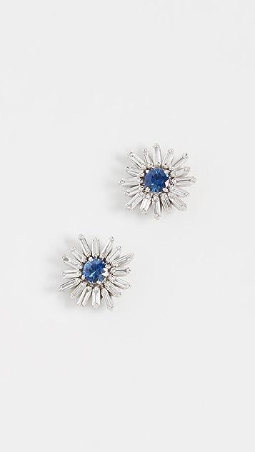 Suzanne Kalan 18k 白金蓝色蓝宝石和钻石耳环
