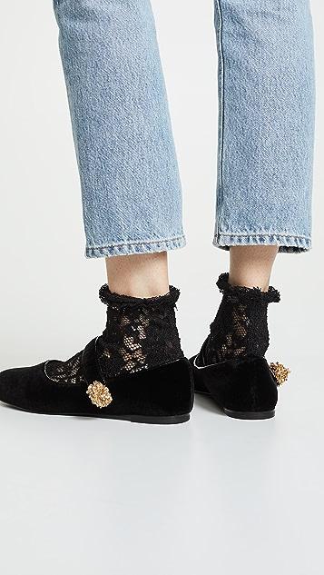 Stella Luna 蕾丝鞋面别针平底玛丽珍鞋