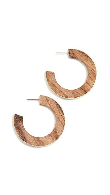 Soko 镀金木桨圈式耳环