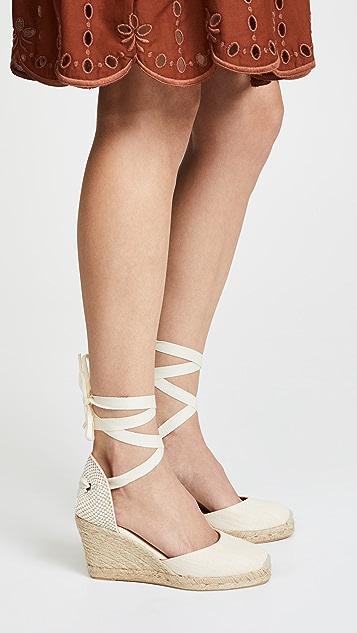 Soludos 高筒编织底坡跟绑带凉鞋