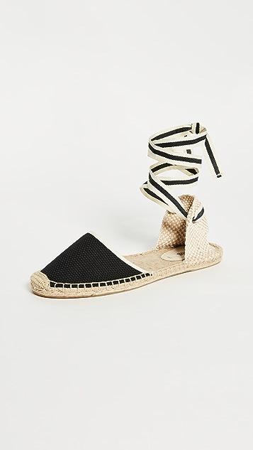Soludos 编织底坡跟绑带凉鞋