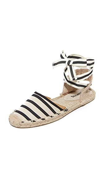 Soludos 条纹编织底坡跟绑带凉鞋