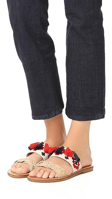 Soludos 刺绣双带凉拖鞋