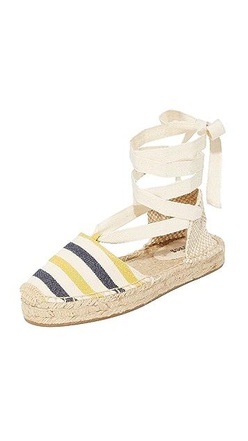 Soludos 条纹厚底罗马凉鞋