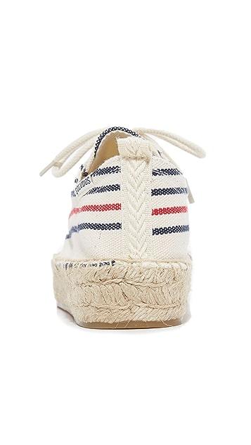 Soludos 牛津风系带厚底帆布便鞋