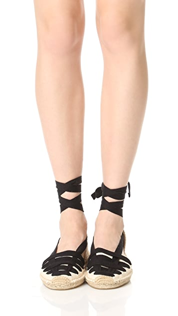 Soludos 系带半坡跟凉鞋