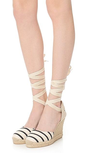 Soludos 条纹高坡跟罗马编织底凉鞋