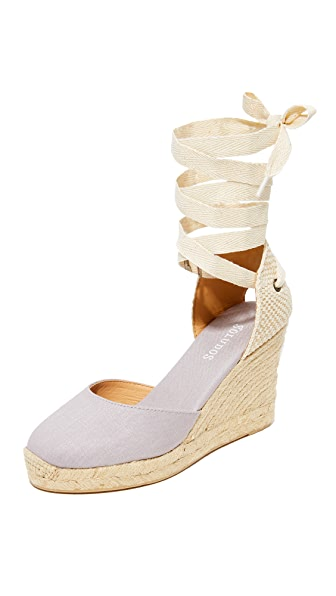 Soludos 坡跟罗马编织底凉鞋