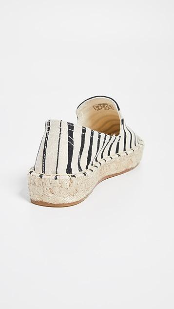 Soludos 经典条纹吸烟浅口便鞋