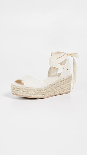 Soludos 露趾厚底编织鞋