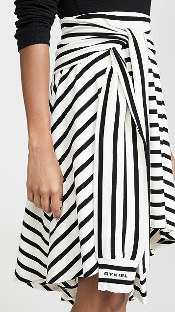 Sonia Rykiel 条纹平针织不对称半身裙