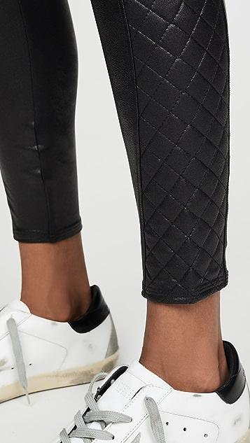SPANX 绗缝仿皮贴腿裤