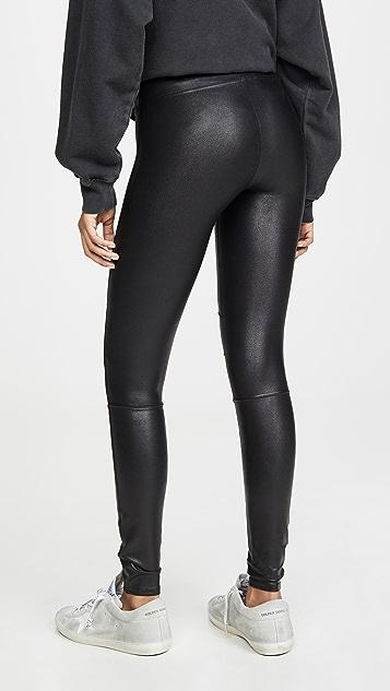 SPANX 拉链细节仿皮贴腿裤