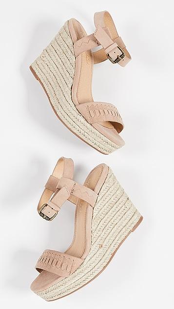 Splendid Shayla 编织底坡跟绑带凉鞋