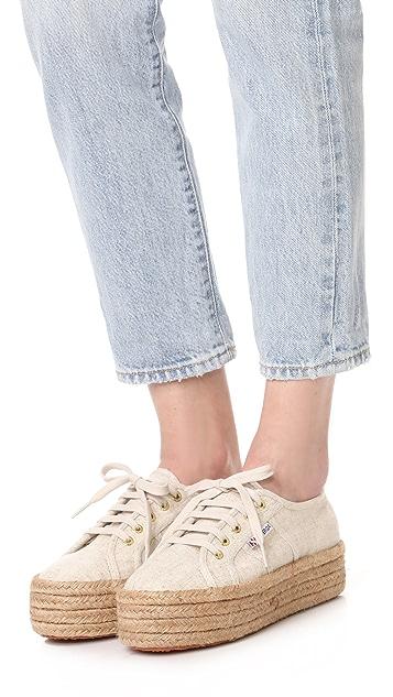 Superga 2790 亚麻厚底帆布便鞋