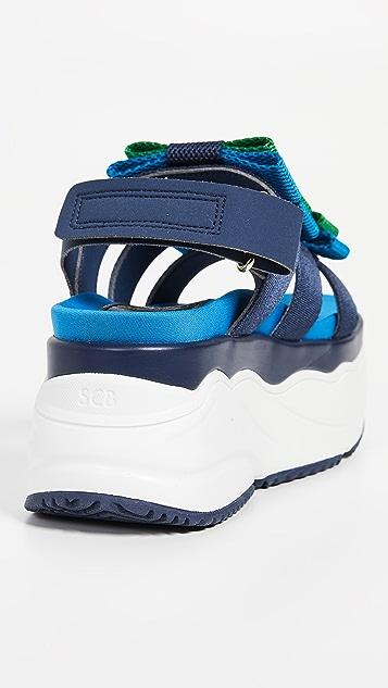 Suecomma Bonnie 拼色缎带厚底凉鞋