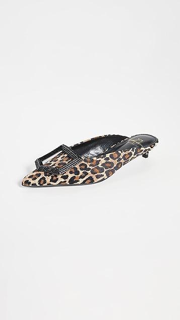 Suecomma Bonnie 豹纹珠宝镶嵌穆勒鞋